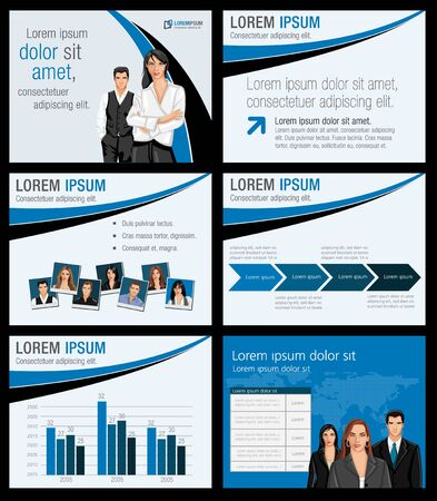 Template for advertising brochure with business people Stock Vector - 18933799