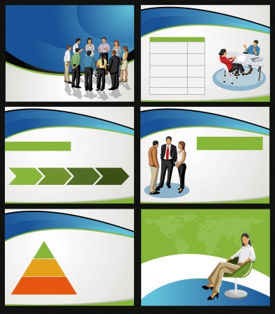 business presentation: Template for advertising brochure with business people. Vector   illustration.