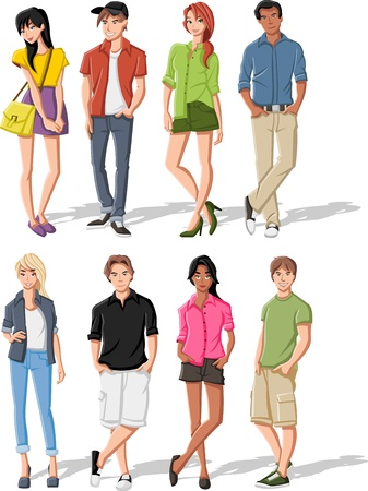 Group of fashion cartoon young people. Teenagers. Vector