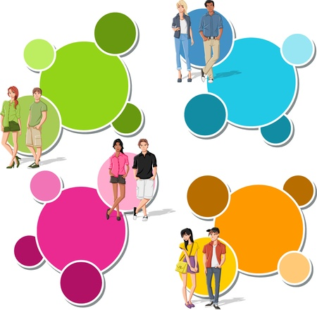 Colorful template for advertising brochure with fashion cartoon young people. Teenagers. Stock Vector - 18933702