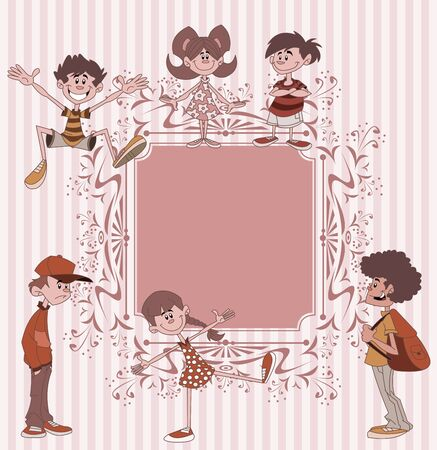 cool kids: Pink vintage frame with cool cartoon children. Teenagers. Illustration