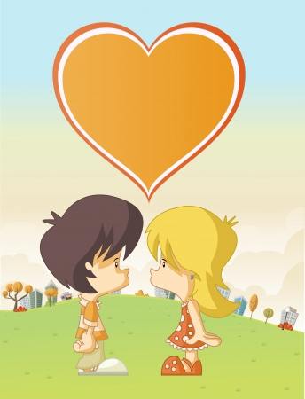 Couple of cute cartoon kids in love in the city park Stock Vector - 19049962