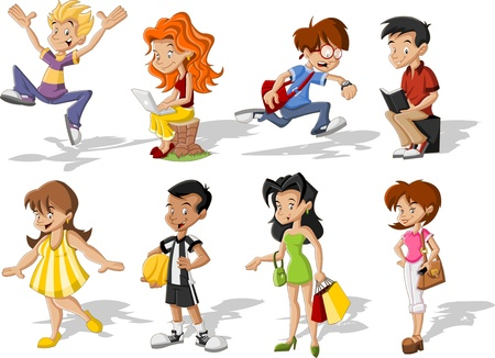 schoolgirl: Group of cartoon young people. Teenagers. Illustration