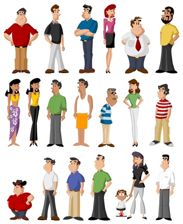 cartoon mensen: Groep van schattige gelukkig cartoon mensen Stock Illustratie