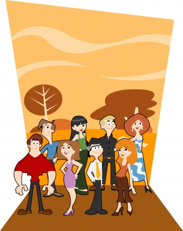 Group of cute happy cartoon people Vector