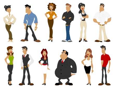 lass: Group of cartoon business people Illustration