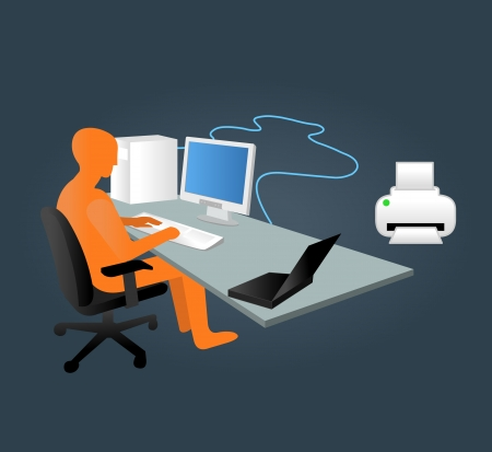 desktop printer: Template with business man working on computer in office Illustration