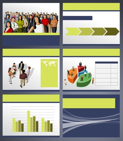 presentation background: Template for advertising brochure with business people. Vector illustration.