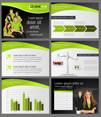 Template for advertising brochure with business people. Vector illustration. Vector