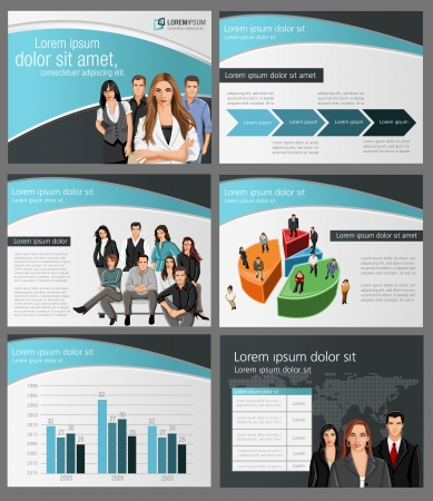 coworker banner: Template for advertising brochure with business people. Vector illustration.