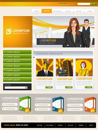 website template: Orange website Template with business people