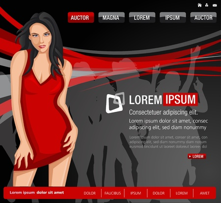 Party website Template with woman in red dress Vector