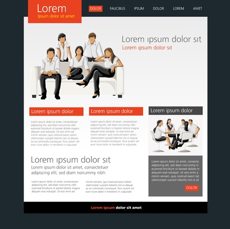 Orange and black business website Template Vector