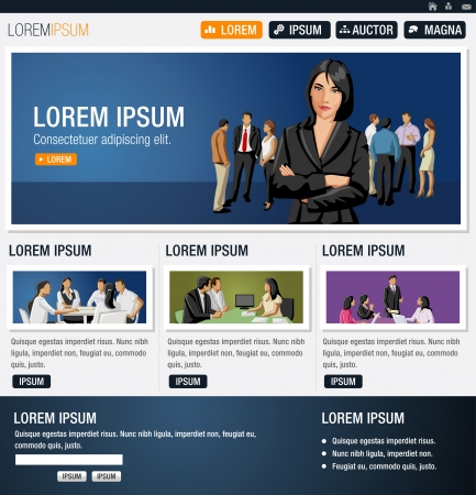 Blue website Template with business people Vector