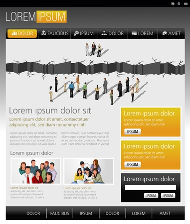 Yellow and green website Template with business people Vector