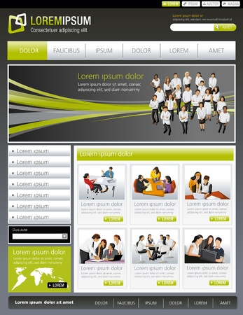web template: Green lime and gray website Template with business people