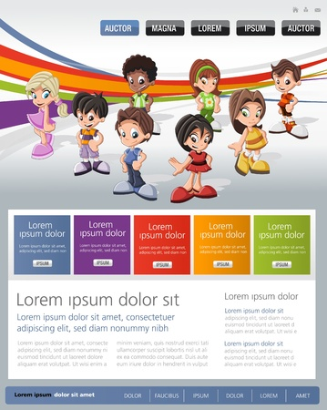 Colorful website Template with kids Stock Vector - 19167754
