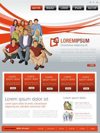 search button: Red website Template with business people Illustration