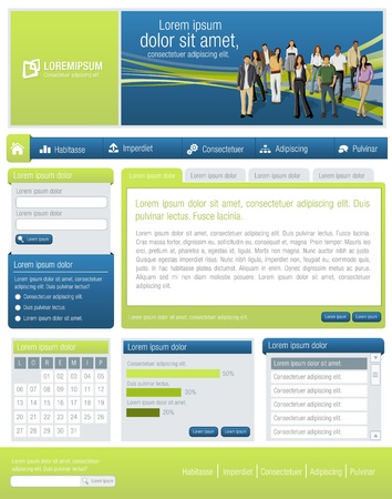 web design template: Blue and green website Template with business people