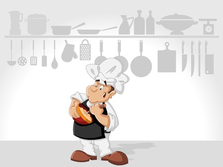 cooker: Chef man cooking delicious meal in restaurant kitchen. Gourmet food. Illustration