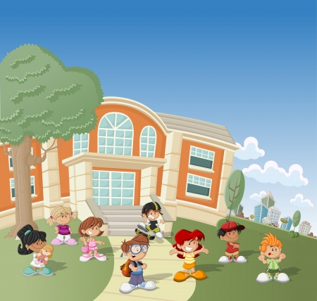 study group: Group of happy cartoon children in front of school Illustration