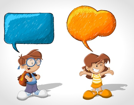 lass: Cartoon children talking with speech balloon
