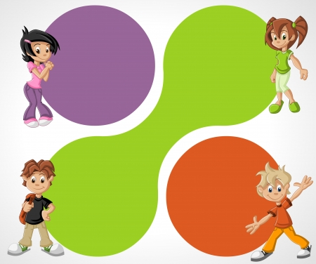 Colorful template for advertising brochure with cartoon children Ilustração