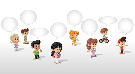 family discussion: Cartoon children talking with speech balloon