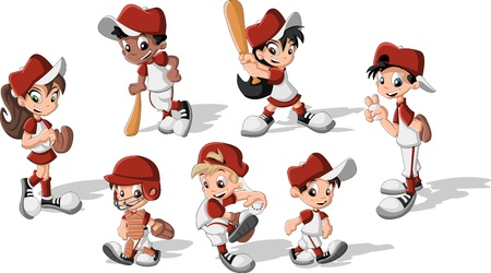 throwing ball: Cartoon children wearing baseball uniform