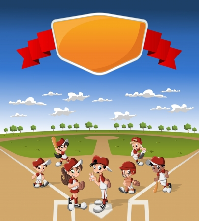 Team of cartoon children wearing uniform playing baseball on green field Ilustração