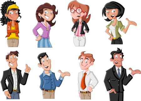 character of people: Group of happy cartoon young people