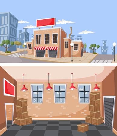storehouse: Almac�n de la f�brica en el interior de la ciudad de un almac�n con cajas de cajas de madera