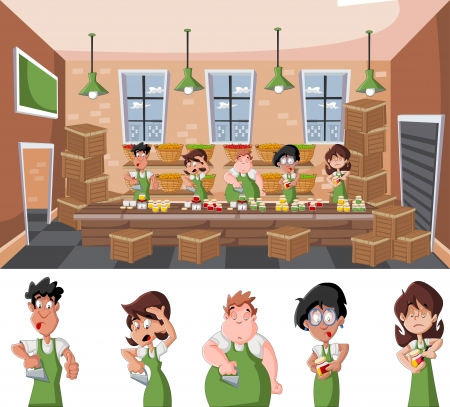 food industry: Pepper factory warehouse with people working and wooden boxes   crates  Illustration