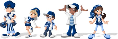 cute cartoon boy: Group of hipster cartoon young people
