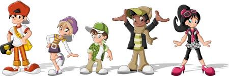 niño en patines: Grupo de jóvenes de dibujos animados inconformista