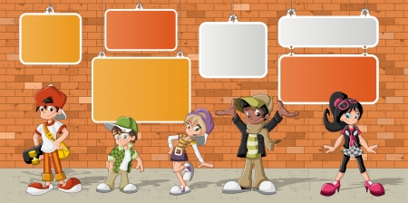 boy student: Group of hipster cartoon young people in front of orange brick wall