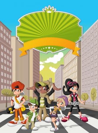 niño en patines: Grupo de gente joven inconformista de dibujos animados en la calle del centro de la ciudad con edificios