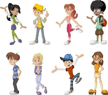 cartoon character: Group of eight happy cartoon children Illustration
