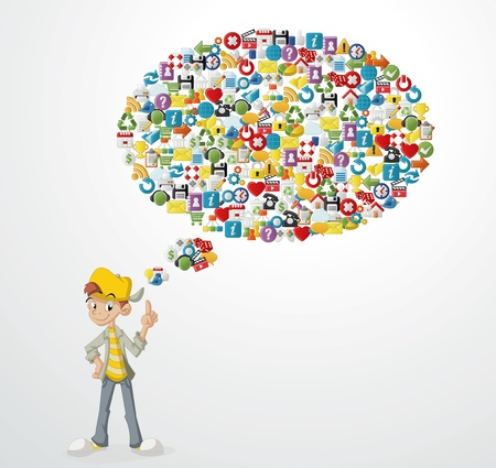 tweet balloon: Cartoon teenager boy with Thought bubble made of Internet, Website icons Set