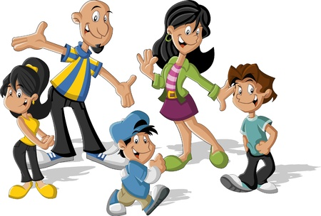 minority: Colorful cute happy cartoon latin family  Latinamericans
