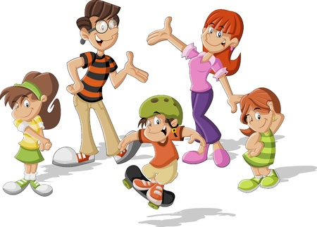 brother and sister cartoon: Colorful cute happy cartoon family Illustration