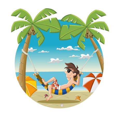 Cartoon man op mooi tropisch strand met blauwe oceaan, parasols en palmbomen kokosnoot bomen