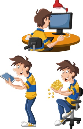 Cartoon man using computer and tablet