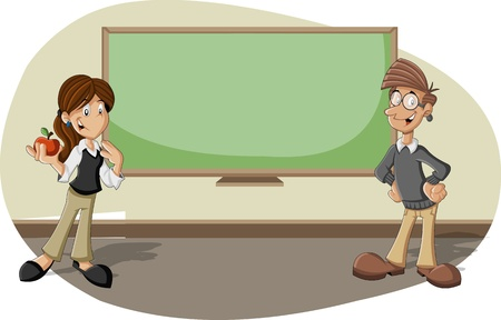 Cartoon teachers in the classroom with blackboard Vector