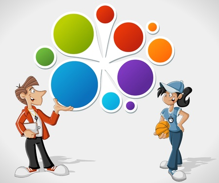 Colorful template for advertising brochure with cartoon coaches Vector