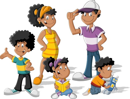 black family smiling: Colorful cute happy cartoon black family