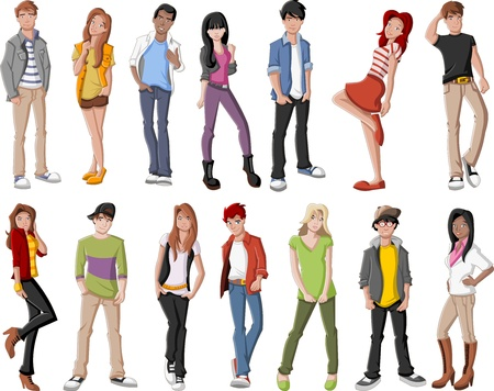 student girl: Group of fashion cartoon young people