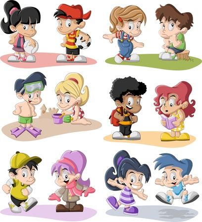 lass: Group of happy cartoon children playing