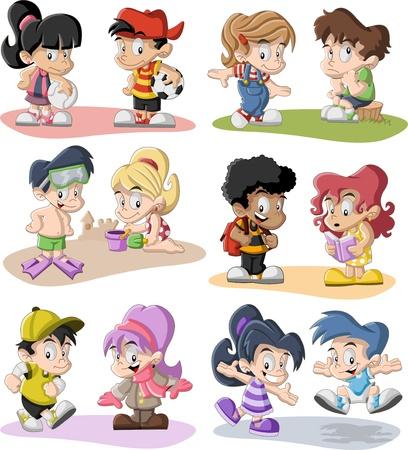pelota caricatura: Grupo de niños felices jugando animados