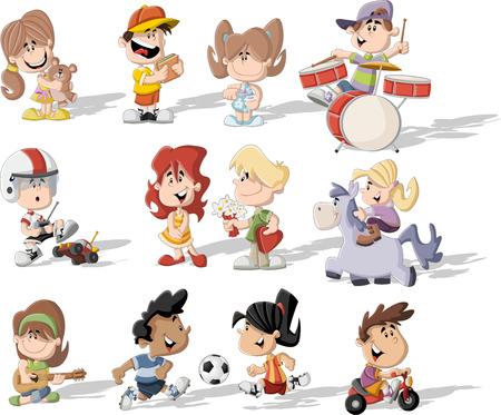 Groep gelukkige cartoon kinderen spelen